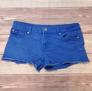 Bright blue cutoff shorts